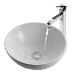 Kraus C-KCV-141-1007 White Round Ramus Single Lever Mixer Bathroom Sink - Fixture Universe - $209 Set - 15.7Dia.