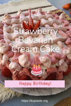 This Strawberry Bavarian Cream Cake was made with 4 layers sponge Cake, filled with whipped cream, cream cheese and strawberry coulis, topped with a strawberry white chocolate frosting. German Desserts, French Desserts, Strawberry Filling, Strawberries And Cream, 4 Layer Cake Recipe, White Chocolate Frosting, Cream Cake, Cream Cream, Bavarian Cream