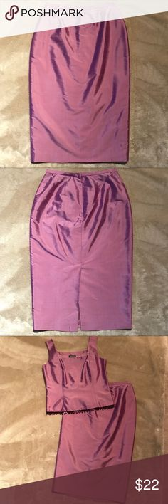 "Lavender Silk Skirt Matches both lavender top and jacket from my closet. Bundle for discounts! Back zip with matching button and zip pull. Slit in back 11"".  Small material flaw near my thumb in pictures. Otherwise in great condition! Waist 12.75"" Length 27.5"" Lafayette 148 New York Skirts Pencil"