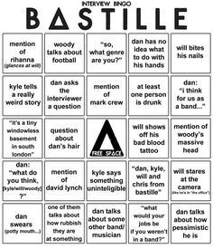 Bastille interview bingo