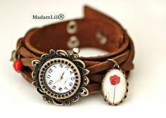 Skórzany zegarek handmade ♥ Makowy romans ♥ #Ribell #MadameLili #zegarki #handmade >> Wybierz Twój na: https://www.ribell.pl/zegarki-recznie-robione-handmade