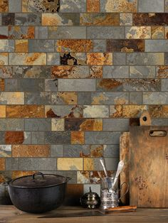 (Rustic slate mosaic tile) Brown, gray rusty colors slate backsplash tile from earth. Subway, mosaic or glass mixed slate tiles for any projects. Glass Kitchen, Rustic Kitchen, Kitchen Backsplash, Backsplash Ideas, Kitchen Mosaic, Mosaic Tiles, Cement Tiles, Wall Tiles, Kitchen Cabinets