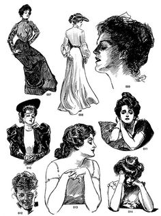 The Gibson Girl hairstyles Victorian Women, Edwardian Era, Character Inspiration, Character Design, Charles Dana Gibson, Arte Horror, Ink Illustrations, Historical Clothing, Graphic