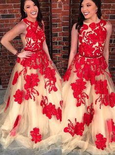 Chic Prom Dresses Bateau Open Back Red Appliques Prom Dress Long Evening Dress Prom Dresses For Teens Long, Pretty Prom Dresses, Unique Prom Dresses, Cheap Evening Dresses, A Line Prom Dresses, Custom Dresses, Beautiful Dresses, Teen Dresses, Grad Dresses
