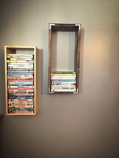 Dvd wooden wallmount display case holder by EmmyOnTap on Etsy