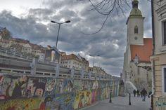 Streets surrounding St Martin's Cathedral in Bratislava, Slovakia