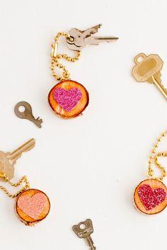 Glitter Heart Key Chain DIY