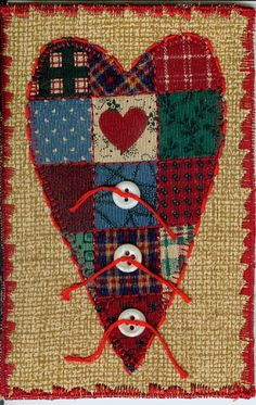Valentine Fabric Quilted Postcard No 3 by ArtQuiltsArtQuilts, $10.00