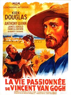 LUST FOR LIFE (1957) - Kirk Doglas as 'Vincent Van Gogh' - Anthony Quinn - Directed by Vincente Minelli - MGM - French movie poster.