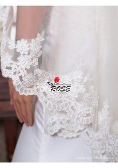 One Layer Wedding Veil Lace Bridal Veil No Comb Style BV127 - Wedding Veil