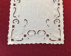 Vintage White Linen Table Runner With Cut by VintageLinenGallery