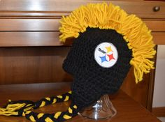 PITTSBURGH STEELERS Mohawk Hat Black and Gold All by FANaticHATS, $28.00