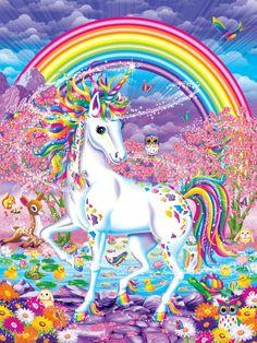 Art Print: Rainbow Mischief by Lisa Frank : Unicorn And Fairies, Unicorn Fantasy, Unicorn Art, Rainbow Unicorn, Unicorn Painting, Unicorn Drawing, Beginner Painting, Diy Painting, Lisa Frank Stickers