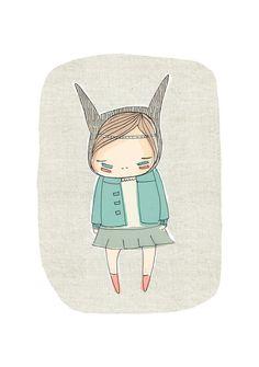 Room Decor For Girls Room  - Little Indian Warrior Girl - Bunny Rabbit-  Art Print - Light Green Mint Verison
