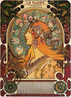 Zodiac, 1896 // by Alphonse Mucha, Art Nouveau Mucha Art Nouveau, Alphonse Mucha Art, Art Nouveau Poster, Posters Vintage, Retro Poster, Vintage Art, Art Posters, Print Poster, Art And Illustration