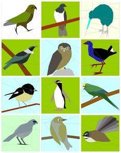 New Zealand Native Birds Foundation Paper Pieced Quilt Patterns New Zealand Image, New Zealand Art, Tui Bird, Bird Quilt Blocks, Vogel Quilt, Bird Drawings, Drawing Birds, Paper Pieced Quilt Patterns, Bird Applique