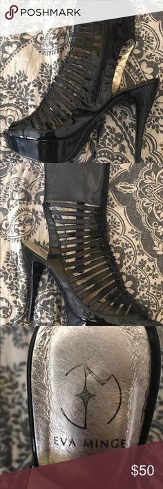 Eva Minge Patent Leather Heels - Size 39 Shiny black patent leather  Size 39  I have never worn them but the label where the heel is looks slightly worn Eva Minge Shoes Heels