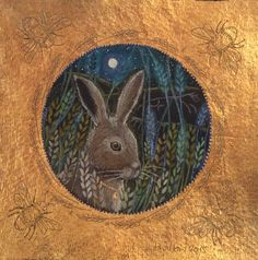 Hare in pencil and 24ct gilding. Hannah Willow www.hannahwillow.com…