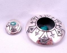 """Everett & Mary Teller ~ Navajo ~ Sterling Silver Turquoise Seed Pot 1 1/4"""""""