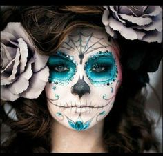 Dia de los muertos - Day of the dead makeup - Sugar skull makeup. Description from pinterest.com. I searched for this on bing.com/images