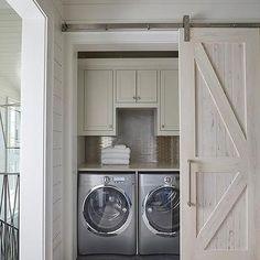 Hallway Laundry Room with Pecky Cypress Barn Door on Rails