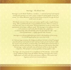 This is the explanation in the wedding invite on what marriage means in Hindu tradition