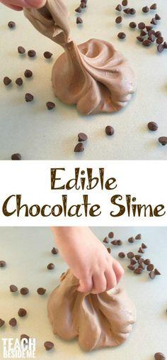 Edible Chocolate Slime Edible Slime, Diy Slime, Food Slime, Homemade Slime, Playdough Slime, Edible Food, Starburst Slime, Chocolate Slime, Making Chocolate