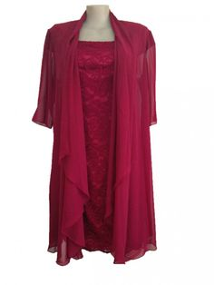 Special Occasion Lace Dress with Chiffon Jacket in Red