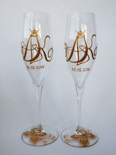 Hand painted Wedding Toasting Flutes Set of 2 Personalized Champagne glasses Royal initials