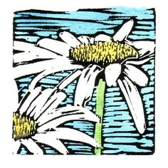 Double Daisy Linocut Block Print by backporchstudios on Etsy, $16.00