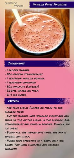 Vanilla Fruit Smoothie #vanilla #fruit #smoothie #recipes #beverage #SunshineVanilla