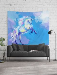 Colorful wall tapestry featuring my Unicorn Dream digital painting. This unicorn illustration is the perfect wall art! Our Wall Tapestries feature vivid colors and crisp lines, giving you an awesome centerpiece for any space. Wall Tapestries, Tapestry, Unicorn Illustration, Dream Fantasy, Colorful Wall Art, Animal Paintings, Artwork Prints, Animals Beautiful, Vivid Colors