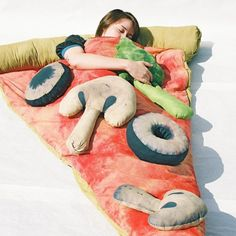 Pizza Sleeping Bag - Slumber party time. Also, that big shroom should be within hugging distance.