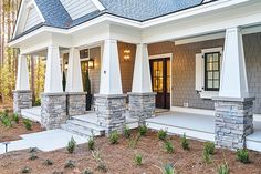 Stacked stone steps and columns Stacked stone steps and columns gives this home a great look. The stone that we used here is called Echo Ridge Country Ledgestone Exterior trim is Sherwin Williams Alabaster Stacked stone steps and columns Exterior Trim, Exterior Paint, Stone Columns, Stone Steps, Stone Facade, House Columns, Porch Columns, Sliding French Doors, Exterior Remodel