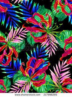 seamless dark jungle floral design illustration