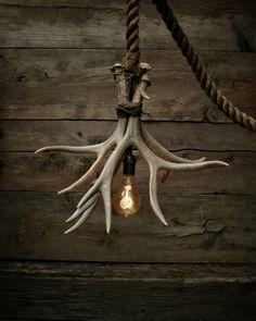-The Cabin Lit Chandelier - Antler Shed Pendant - Rope Light - Hanging Accent .- The Cabin Lit Chandelier – Antler Shed Pendant – Rope Light – Hanging Accent light -Ceiling light – Antler lamp Rustic Statement Light – <br Rustic Lamps, Rustic Chandelier, Rustic Industrial, Chandelier Lighting, Accent Lighting, Rustic Room, Chandelier Ideas, Rustic Modern, Rope Lighting