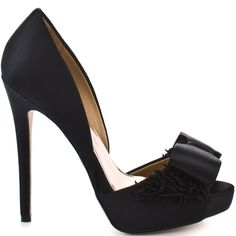 Feel like the princess you are in this exquisite pump from Badgley Mischka.  Lucie is a black satin peep toe with a 5 inch covered heel and a 1/2 inch platform.  This style has a dainty bow at the vamp adorned with heart fabric details at either side.