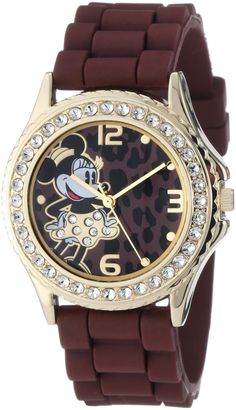 Disney Women's Rhinestone Accent Minnie Mouse Brown Rubber Strap Watch