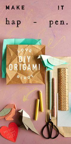 DIY Origami Love Birds.
