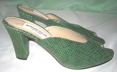 Vtg 1970s Green SNAKE Skin SNAKESKIN Peep TOE Shoes HEELS Mules MADE In SPAIN ~ Pretty Funk - eh