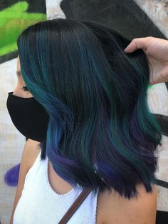 Blue Green Hair, Dark Blue Hair, Teal Blue, Dark Hair With Color, Teal And Purple Hair, Dyed Hair Blue, Red Hair, Fox Hair Dye, Dye My Hair