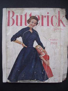 Butterick Patterns counter catalog, Winter 1954 featuring Butterick 7129 and 7007