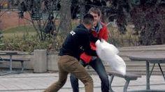pillow fight strangers - YouTube