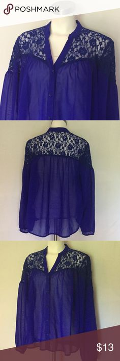 Charlotte Russe sheer blue blouse  Charlotte Russe pretty blue sheer button blouse. lace shoulders. Never Washed, in excellent condition! Charlotte Russe Tops