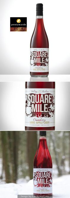 Label / Square Mile Cider Co.'s Holiday Cranberry #Cider #packaging #design, Creative Agency: Sasquatch Agency