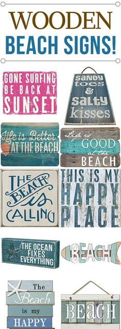 Wooden Beach Signs and Wooden Coastal Signs Beachfront Decor : WOODEN BEACH SIGNS LIST. Discover the absolute best wooden beach signs we have to offer at Beachfront Decor! We have a huge variety of nautical, tropical, coastal, beach, and ocean theme Beach Cottage Style, Beach House Decor, Coastal Style, Coastal Decor, Rustic Beach Decor, Vintage Beach Decor, Beach House Signs, Pool Signs, Air Signs