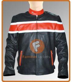 Black Orange Biker Leather Jacket