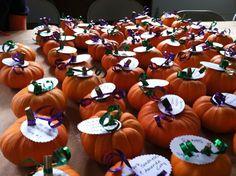 Pumpkin escort cards for a fall wedding!