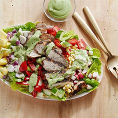 Chicken Cobb Salad with Creamy Avocado-Lime Dressing | Recipes | Weight Watchers