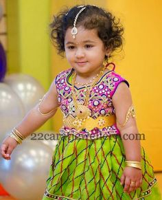 Jewellery Designs: Adorable Baby in Traditional Diamond Sets Cute Dresses, Girls Dresses, Baby Dresses, Indian Jewellery Design, Jewellery Designs, Kids Party Wear, Bead Embroidery Tutorial, Blouse Neck Designs, Frock Design